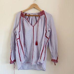 Free People Embroiderd Boho Tunic Blouse V-Neck